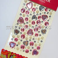 Стразы клеевые, на планшете, 103 шт., круги и сердечки, цвета - розовый, белый, кремовый жемчужный