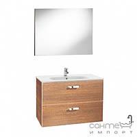 Мебель для ванных комнат и зеркала Roca Тумба с раковиной Roca Victoria Basic 80 орех A855852222 + зеркало A812229222