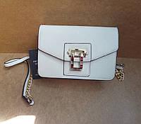 Модная женская маленькая сумка-клатч белая на замочке