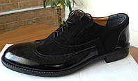 Замшевые мужские туфли с лаковым носком украинского производителя. Оптом и в розницу, Размер 39-45