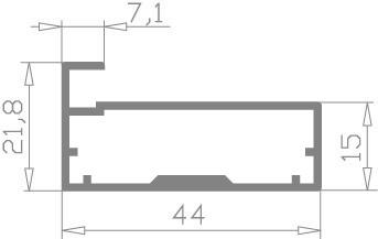 Рамочный фасадный алюминиевый профиль Р 33 анод серебро, фото 2