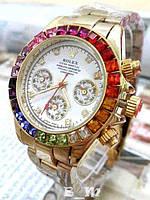 Женские кварцевые часы Rolex Daytona Rainbow в камнях с металлическим ремешком