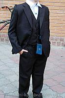 Стильный школьный костюм- тройка  размер 134 Черный, фото 1