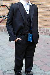 Стильный школьный костюм- тройка  размер 134 Черный