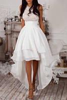 Длинное пышное вечернее платье в пол с асимметричным подолом