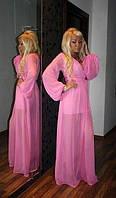 Длинное шифоновое прозрачное платье в пол с широкими рукавами
