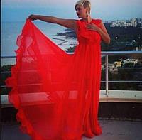 Прозрачное длинное в пол шифоновое платье без рукавов с оборками на лифе и по низу юбки