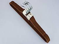Плечики тремпеля флокированные (бархатные, велюровые) коричневого цвета, длина 41,5 см,в упаковке 5 штук