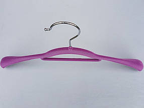 Плечики вешалки тремпеля флокированные (бархатные, велюровые) сиреневого  цвета,длина 42 см, фото 3