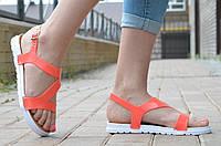 Босоножки, сандали женские на небольшой платформе коралловые силикон 2017. Топ