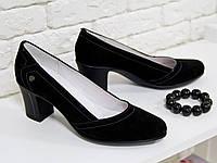 Туфли из натуральной замши черного цвета на удобном небольшом каблуке