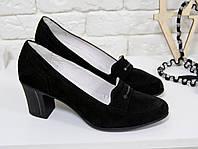 Туфли черные из натуральной замши черного цвета на устойчивом каблуке