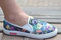 Слипоны, мокасины летние женские сетка цветочный принт удобные, стильные