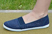 Мокасины, балетки летние женские текстиль темно синие удобные, практичные. Топ