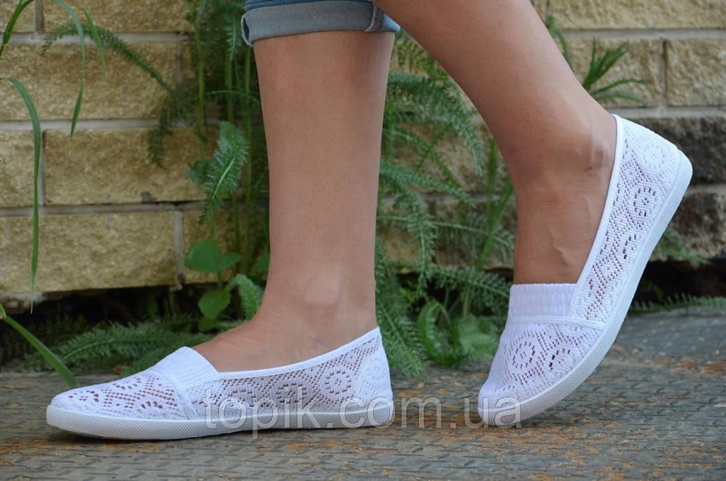 Мокасины, балетки летние женские текстиль белые удобные, практичные. (Код: 739а)