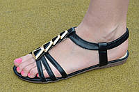 Босоножки, сандали женские на резинке черные искусственная кожа, подошва полиуретан. Топ