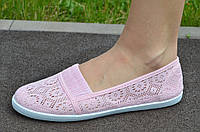 Мокасины, балетки летние женские текстиль нежно розовые удобные, практичные