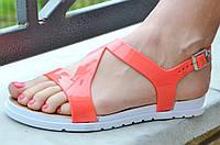 Босоножки, сандали женские на небольшой платформе коралловые силикон. Топ