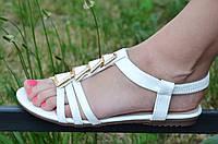 Босоножки, сандали женские на резинке белые искусственная кожа, подошва полиуретан