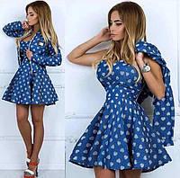 Джинсовое платье и кофта с принтом сердечки