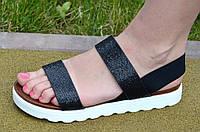Босоножки, сандали женские на платформе черный перламутр искусственная кожа