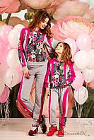 Оригинальный спортивный костюм для девочек, с красивым цветочным ринтом, для мамы и дочки, 116-134 размер, фото 1