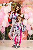 Модный детский спортивный костюм для дома и школы, для мамы и дочки, 116-134 размер 134