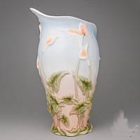 """Оригинальная ваза из фарфора """"Бабочка в каллах"""" 32 см"""
