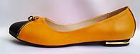 Оранжевые женские балетки на низком ходу из натуральной кожи