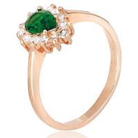 Позолоченное серебряное кольцо с зеленым фианитом Пенелопа 000028432 19 размера