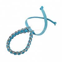 Женский браслет Katerina Fox голубого цвета из натуральной кожи (KF-1095)