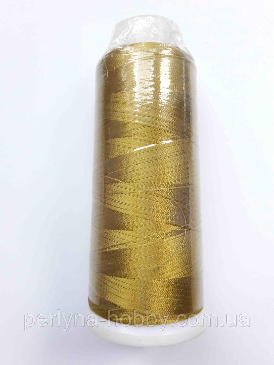 Нитки для машинної вишики 100% віскоза (100% rayon) 3000 ярдів, №175, золотисто-оливковий, темний