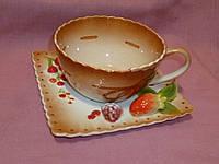 """Чашка чайная с блюдцм """"Ягодки""""  фарфоровая"""