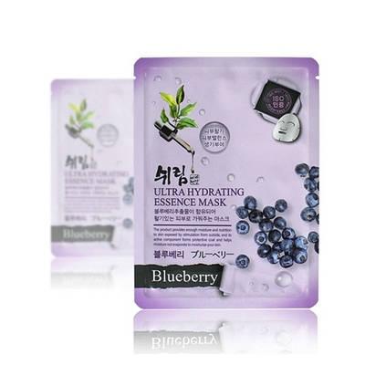 Ультраувлажняющая антиоксидантная тканевая маска для лица с экстрактом черники Shelim Ultra Hydrating Essence