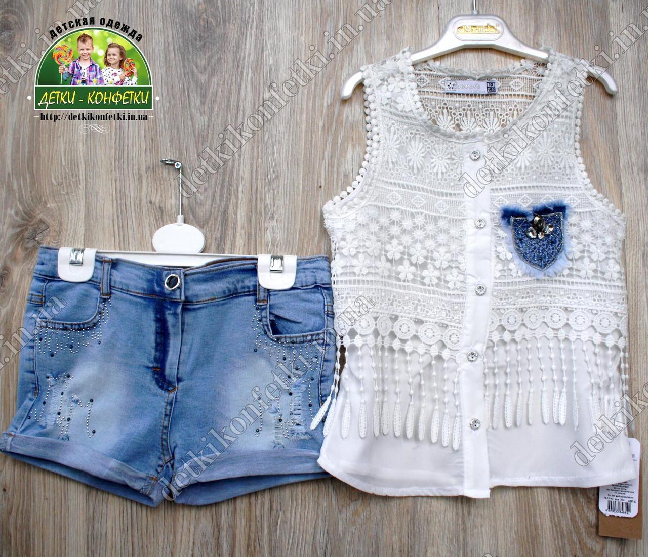 Летний костюм для девочки: блузка и джинсовые шорты