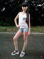 Летний костюм для девочки: блузка и джинсовые шорты, фото 1