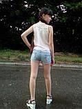 Летний костюм для девочки: блузка и джинсовые шорты, фото 3