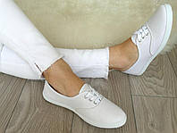Мокасины женские белые на шнуровке  36-41р