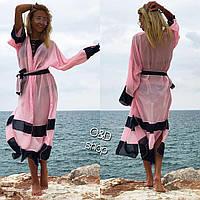 Туника-халат пляжная из шифона с поясом разные цвета KKc47