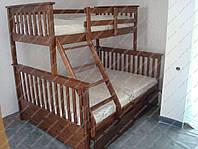 Двухъярусная трехместная кровать детская