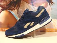 Мужские кроссовки Reebok GL 6000 (реплика) сине-бежевые 44 р.