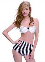 Ретро купальник с завышенной талией в полоску. Для красивой девушки. Хорошее качество. Доступно. Код: КГ1418