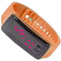 Наручные часы Lesko LED желтые с подсветкой легкие удобные стильные цифровые smart светодиодные