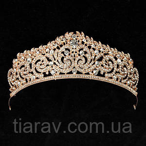 Тиара корона СИНДИ диадема для волос свадебная тиара золотая