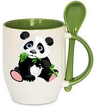 Чашка с Вашим дизайном, цветная внутри, ручка и ложка Зеленый
