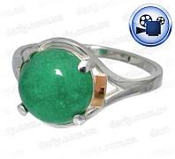"""Женское серебряное кольцо с золотыми пластинами """"Ирис"""" жадеит"""