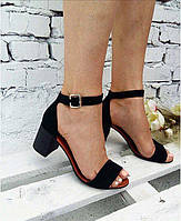 Элегантные женские босоножки черная замша ,на устойчивом каблуке.натуральная замша/кожа/кож подкладка.Украина