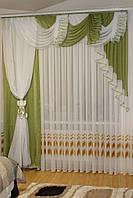 Комплект ламбрекен со шторой в спальню Агния 2м зелёный