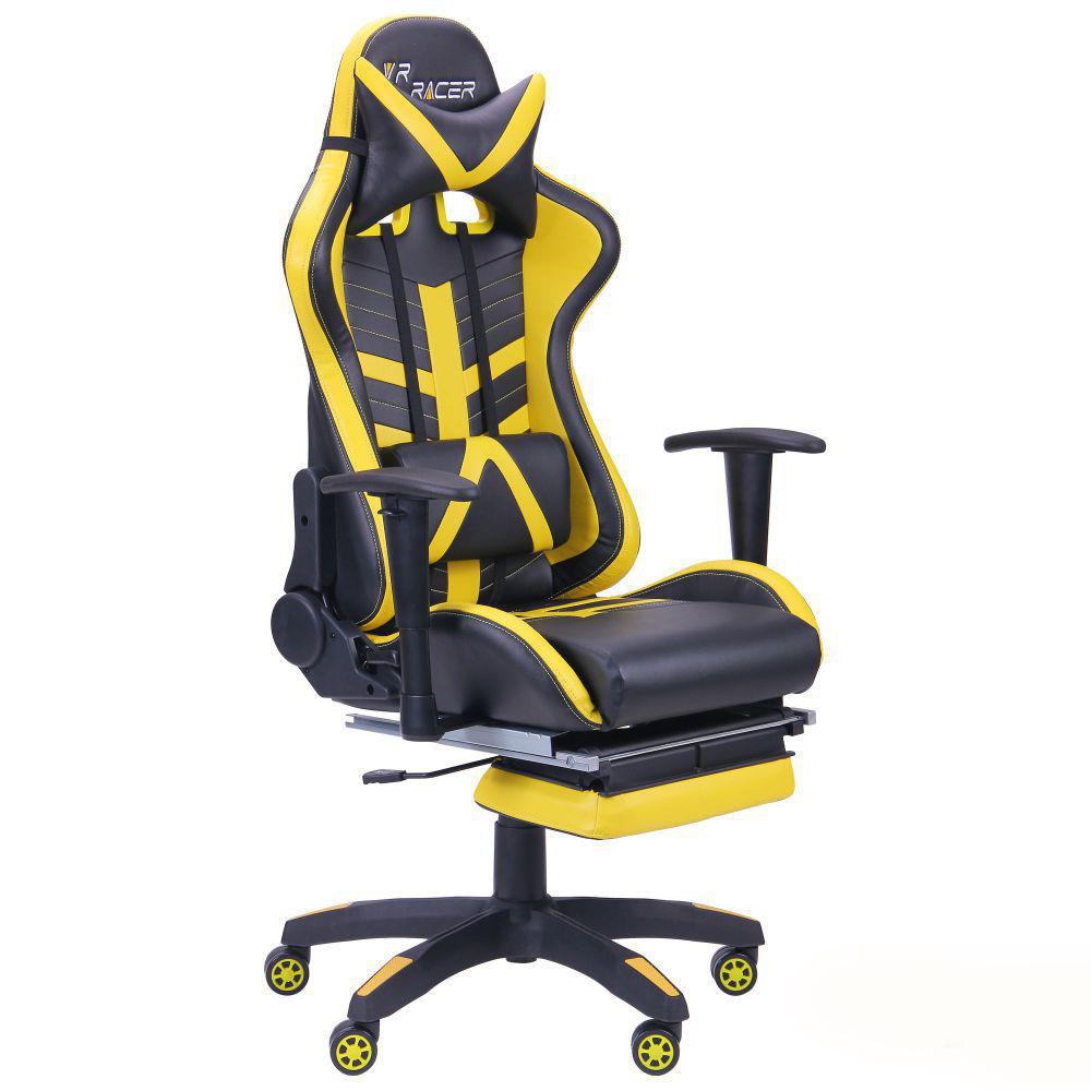 Геймерское кресло VR Racer BattleBee черный/желтый, TM AMF