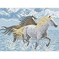 Схема для вышивания бисером Лошади в воде БИС3-40 (А3)